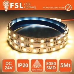 Striscia LED 5050 - 5Metri 12W 1100Lm 3000K 24V IP20 60led