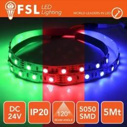 Striscia LED 5050 - 5Metri 12W 1100Lm RGB 24V IP20 60led