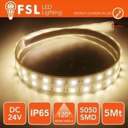 Striscia LED 5050 - 5Metri 12W 1000Lm 3000K 24V IP65 60led