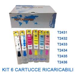 Cartuccia ricaricabile vuota per Epson T2431 T2432 T2433 T2434 T2435 T2436 con chip autoreset