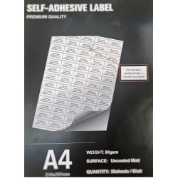 40x20cm 50Sheet Matt-Self adhesive A4/80g (65 labels/Sheet)