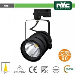 Faretto a Binario LED - 35W 3000K 2100LM 24° CRI +90 NERO