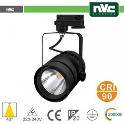 Faretto a Binario LED - 50W 3000K 3000LM 40° CRI +90 NERO