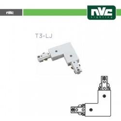 Connettore Forma  L  Binario T3 - Colore Bianco