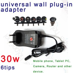 30W 3-12V AC/DC universal adapter tablet, 6 DC tips + 1 USB