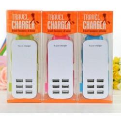 Caricatore 6 USB Ports da viaggio 2 pin EU 6A 5V - blister