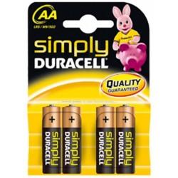 4 pile MN1500 stilo 1,5v SIMPLY Duracell - blister