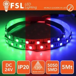 Striscia LED 5050 - 5Metri 12W 1100Lm RGB 24V IP20 60led